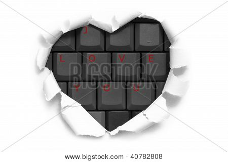 Art Banner Design In Shape Of Heart In White Paper With Words I Love You On Keyboard