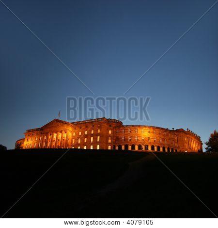 The Illuminated Castle Of Wilhelmshoehe In Kassel