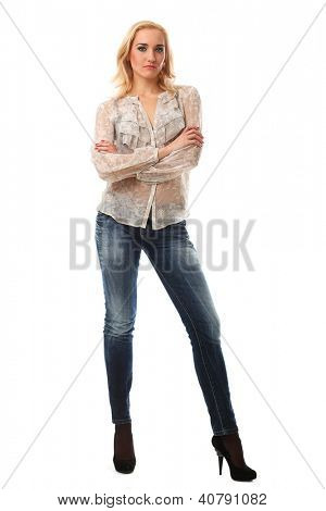 Full length portrait of a young caucasian woman with blonde hair over white background