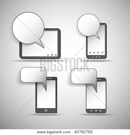 Tablet and Mobile Phone Icons with Speech Bubbles