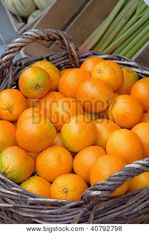 Basket filled with fresh oranges on display at a greengrocery shop