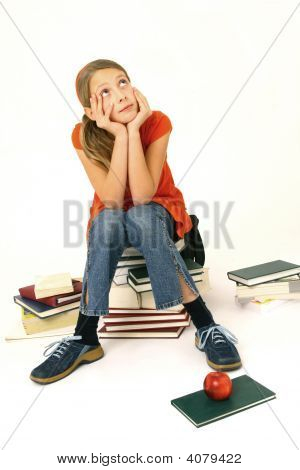 Preteen Sit On A Books