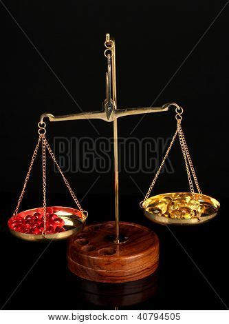 Classic scales with color pills isolated on black