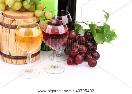 Barrel, bottles and glasses of wine, grapes, isolated on white