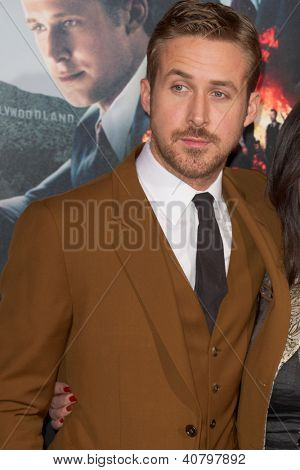 LOS ANGELES, CA - JANUARY 7: Ryan Gosling arrives at the premiere of Gangster Squad at Grauman's Chinese Theatre in Los Angeles, CA on January 7, 2013