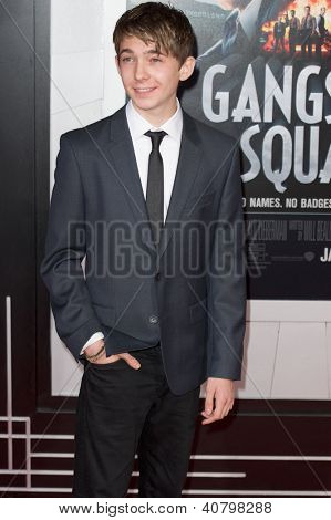 LOS ANGELES, CA - JANUARY 7: Austin Abrams arrives at the premiere of Gangster Squad at Grauman's Chinese Theatre in Los Angeles, CA on January 7, 2013