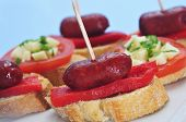 picture of piquillo pepper  - closeup of a plate with spanish pinchos - JPG