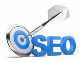 pic of na  - 3D word SEO with Target and Dart isolated on na white background - JPG