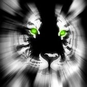 picture of white-tiger  - stylized tiger white on black with green eye - JPG