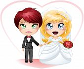 stock photo of chibi  - A vector illustration of lesbians dressed in dress and suit for their wedding day - JPG