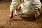 stock photo of priest  - Jesus Writing on the sand with his finger - JPG