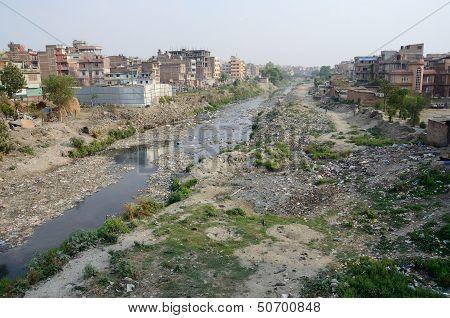 Polluted Slum Area Near Sacred Bagmati River In Kathmandu, Nepal,asia