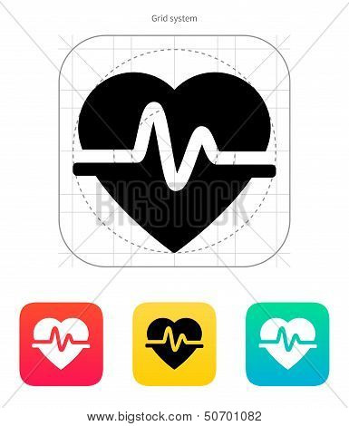 Pulse heart icon. Vector illustration.