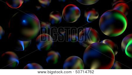 3D Abstract Glossy Spheres In Dark