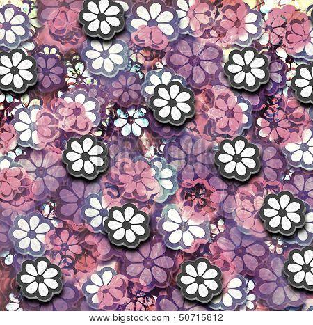 Grunge Graphic Flower Pattern