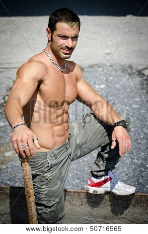 Sexy Construction Worker Naked With Muscular Body