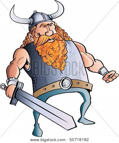 Viking cartoon with a big sword.