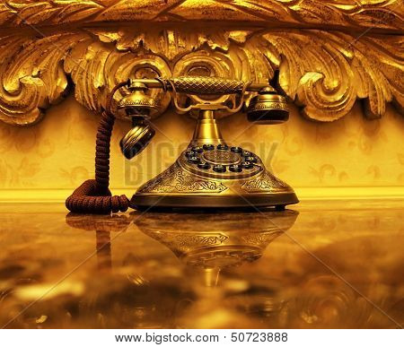 Golden Antique Telephone