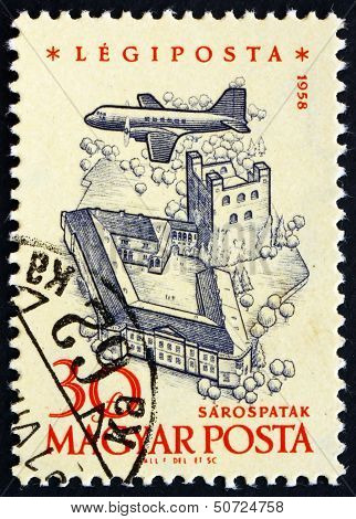 Postage Stamp Hungary 1958 Plane Over Sarospatak