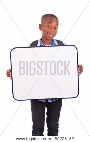 African American School Boy Holding A Blank Board - Black People