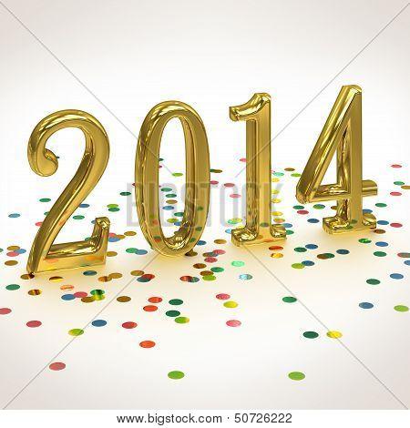 3D Gold Year 2014  On White Background