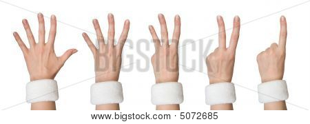 Set Of Woman Hands Counting One, Two, Three, Four, Five
