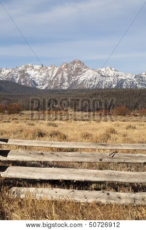 Ranch Range Fence Sun Valley Idaho Sawtooth Mountain Range