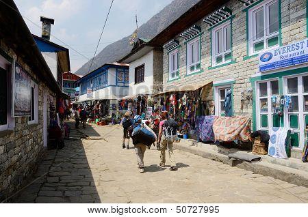 trekkers starting Everest Base camp trek in Lukla,Nepal