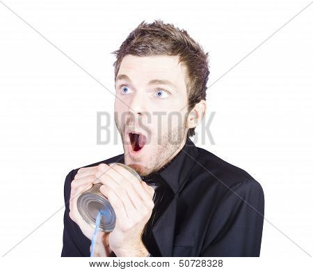 Funny Sales Man Shouting On A Tin Can Phone