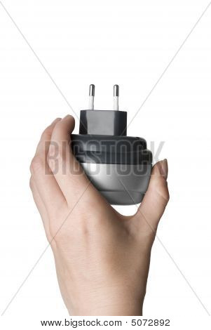 Dark And Light Grey Plug In A Woman Hand