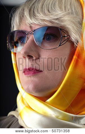 Woman In Sunglasses And Neckerchief