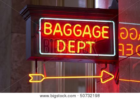 Red Neon Sign Indoor Depot Signage Arrow Points Baggage Dept