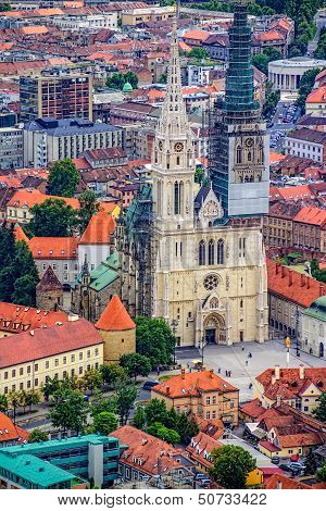 Zagreb Cathedral, helicopter aerial view