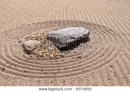 Karesansui - Sea Of Sand - Japanese Dry Rock Garden Intended To Evoke The Vastness Of Sea With Its I