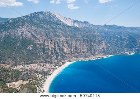 View of Oludeniz from the air, Fethiye, Turkey