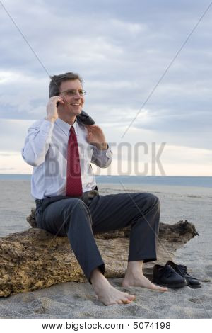 Smiling Businessman Making A Phone Call On A Beach