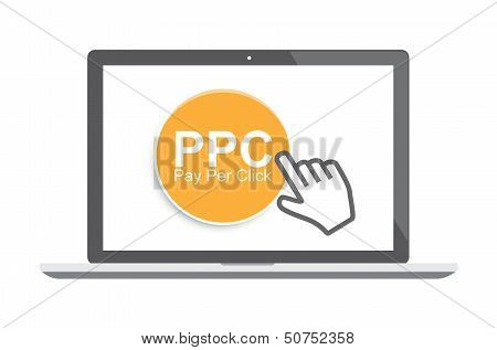 Pay per click concept with laptop and cursor