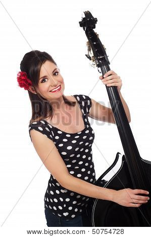 Rockabilly Girl Playing A Double Bass