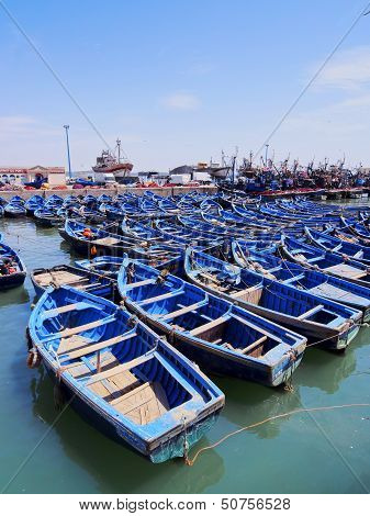 Blue Boats In Essaouira, Morocco
