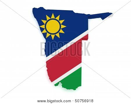 Namibia Map Flag 3D Shape
