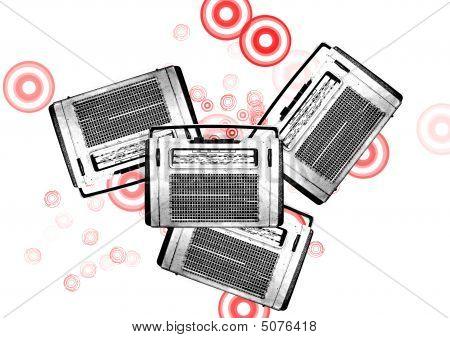Old Black And White Vintage Retro Radios