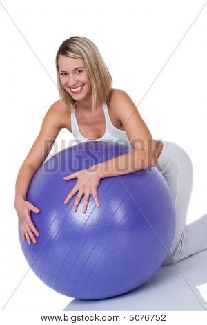 Fitness Series - Blond Smiling Woman With Purple Ball