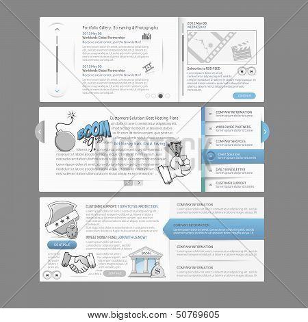 Web site design menu navigation elements with icons set: Gallery Image slider