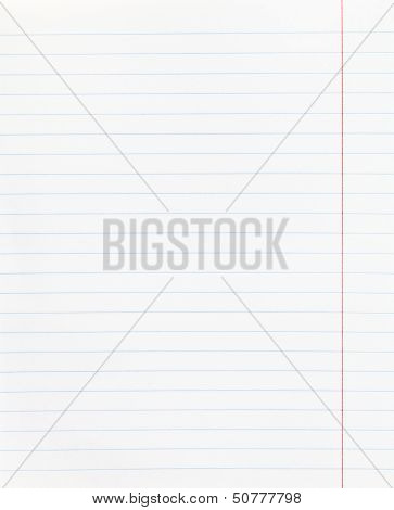 Wide Lined Sheet Of Paper With Red Margin