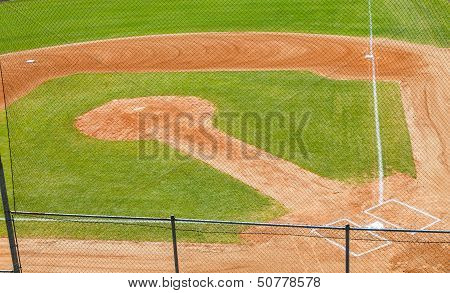 Baseball Field From Above Through Backstop Fence