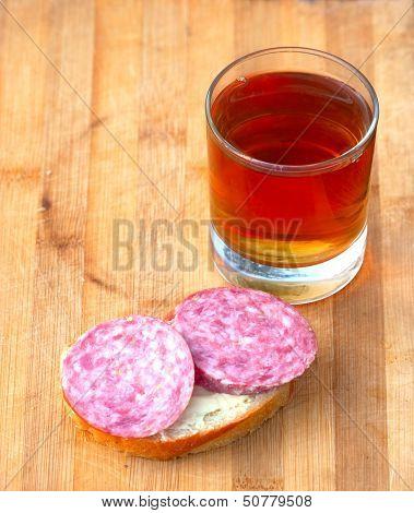 Open Sandwich And Hot Tea