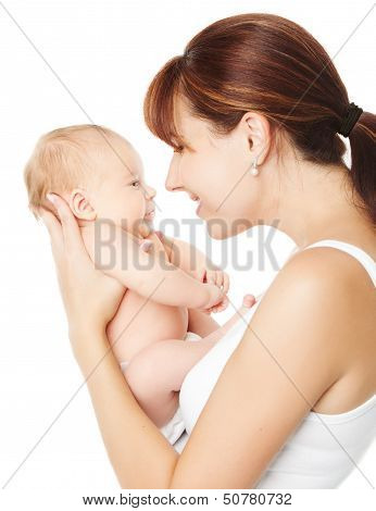 Mother Holding Newborn Baby Over White Background
