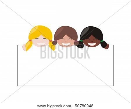 Mulicultural vector girlswith white empty banner. Blond, brown and black hair hostess
