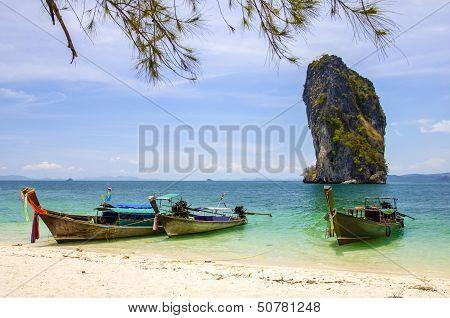 Longboat at poda island in Krabi Thailand.