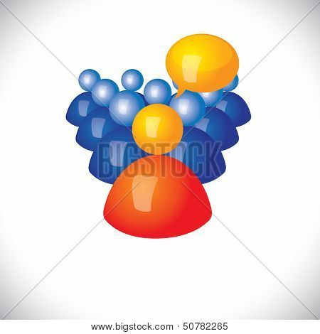Colorful 3D Icons Or Signs Office Manager Talking To Employees  - Vector Graphic